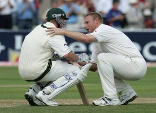 Flintoff consoles Lee