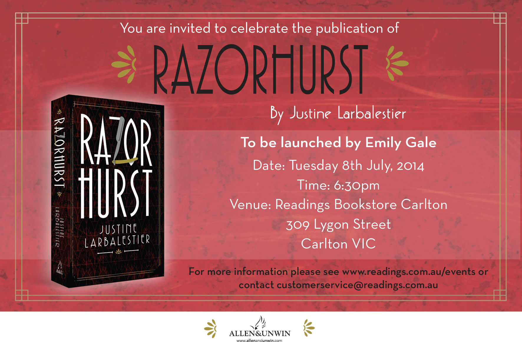 Razorhurst book launches in sydney and melbourne justine larbalestier razorhurst invite melbourne 2 stopboris Gallery
